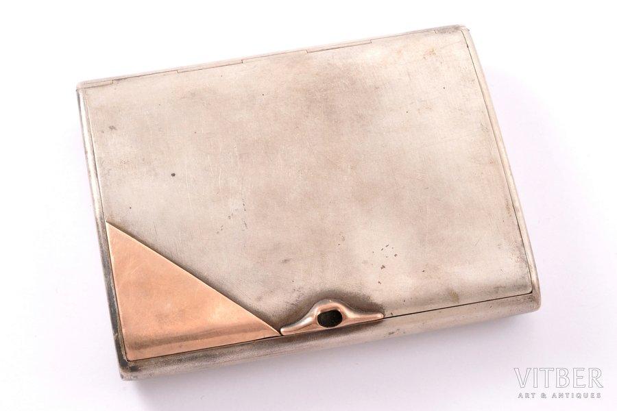 портсигар, серебро, 875 проба, золото, 20-30е годы 20го века, 212.35 г, мастер Иосиф Копф, Эстония, 10.8 x 8.7 x 1.9 см