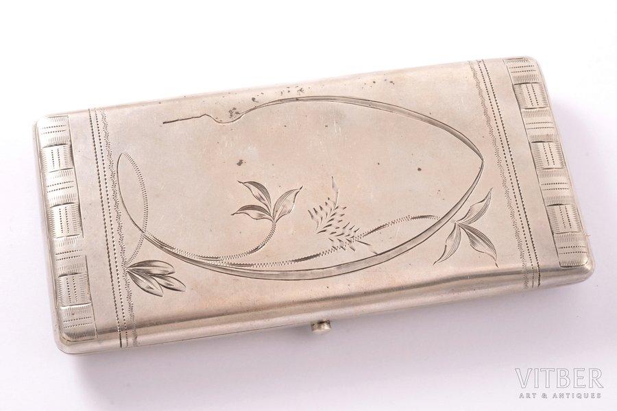 etvija, sudrabs, 84 prove, jūgendstils, māksliniecisks gravējums, 1908-1917 g., 156.55 g, nezināms meistars, Maskava, Krievijas impērija, 13 x 6.4 x 1.7 cm