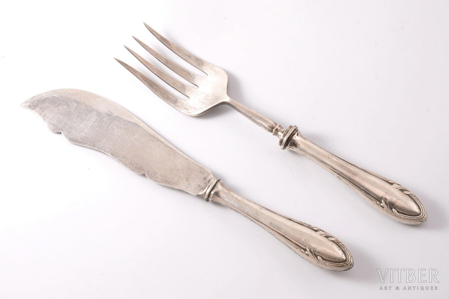fish serving set, silver, 875 standart, the 30ties of 20th cent., 235.80 g, by Wilhelm Heinrich Glasenapp, Latvia, 26.9 cm, 25.2 cm