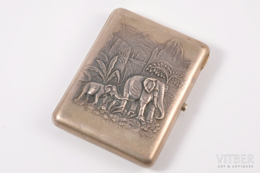 портсигар, серебро, 875 проба, 30-е годы 20го века, 167.45 г, Латвия, 10.7 x 8 x 1.7 см