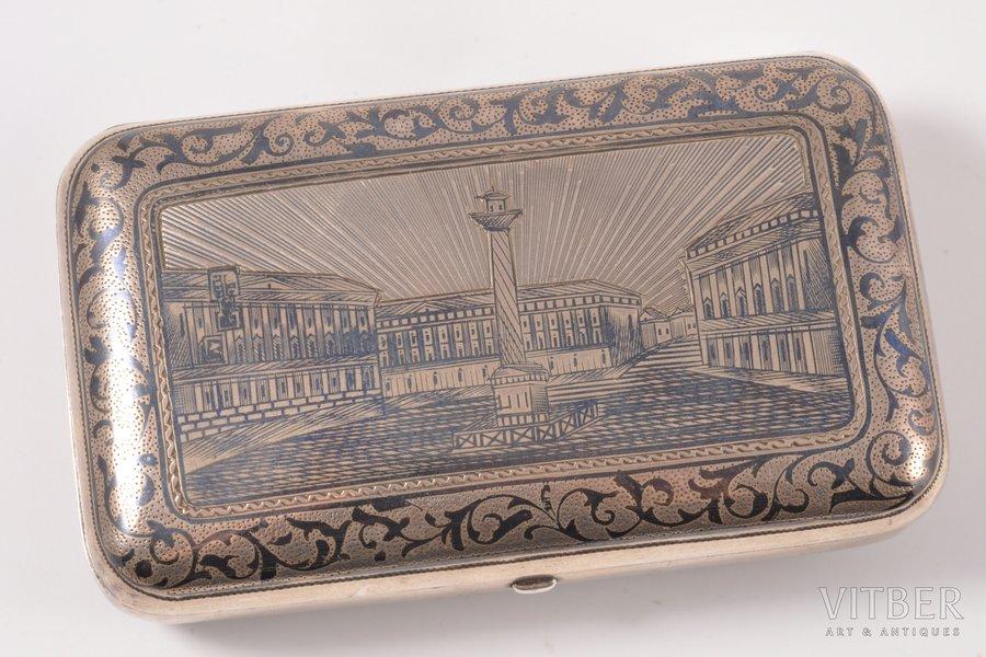 purse, silver, 84 standart, engraving, niello enamel, 1873, (total) 176.10 g, Russia, 10.7 x 6.5 x 2.7 cm