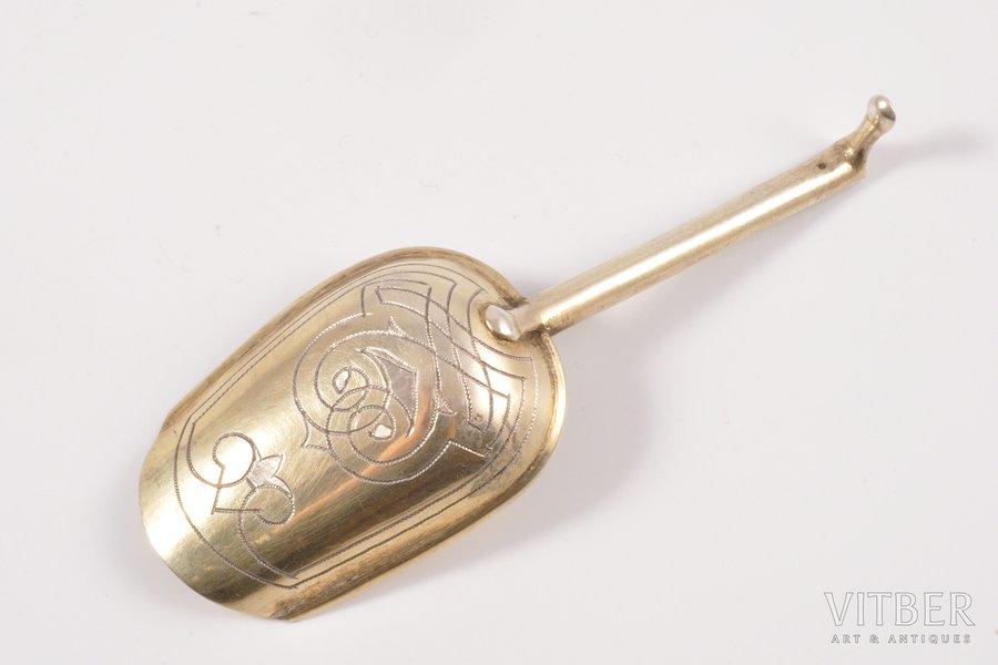 sugar spoon, silver, 84 standart, engraving, 1865, 10 g, Russia, 9.4 cm