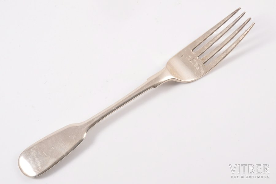 fork, silver, 84 standart, the 2nd half of the 19th cent., 68.25 g, Ivan Khlebnikov factory, Moscow, Russia, 20 cm