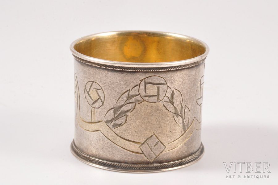 serviette holder, silver, 84 standart, the beginning of the 20th cent., 25.20 g, Moscow, Russia, h 3.5 cm