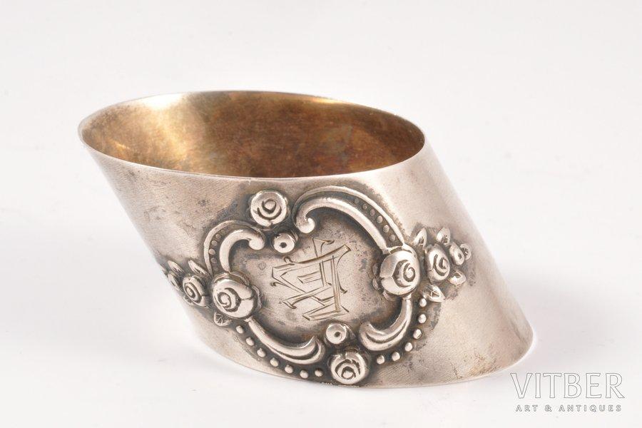 serviette holder, silver, 875 standart, the 20ties of 20th cent., 16.70 g, Latvia, h 2.6 cm