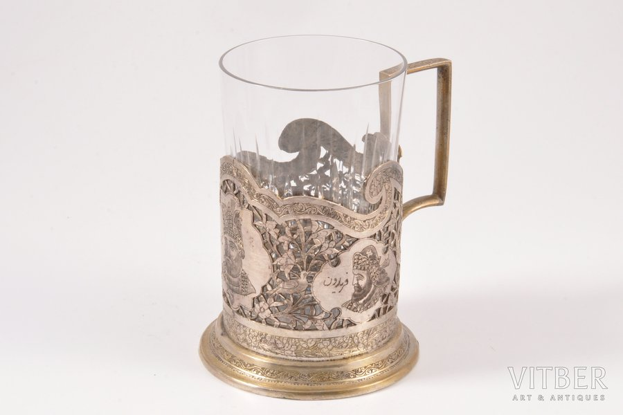 tea glass-holder, silver, engraving, the 19th cent., 124.10 g, Iran, Ø 6.2 cm, French import mark