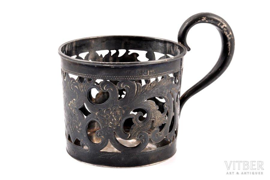 tea glass-holder, silver, 84 standart, niello enamel, 1879, 76.45 g, Riga, Russia, h 7.4 cm