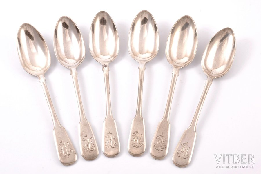 set of spoons, silver, 84 standart, 6 pcs., 1896-1907, 282 g, workshop of Pavel Ovchinnikov, Moscow, Russia, 17.4 cm