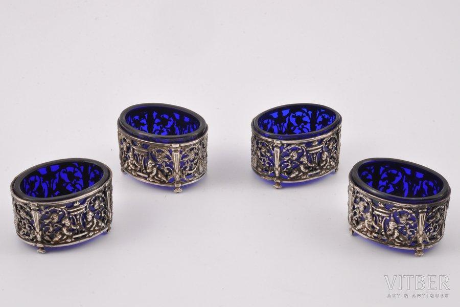 4 солонки, серебро, 19-й век, (серебро) 69.85 г, Франция, h 2.9 см