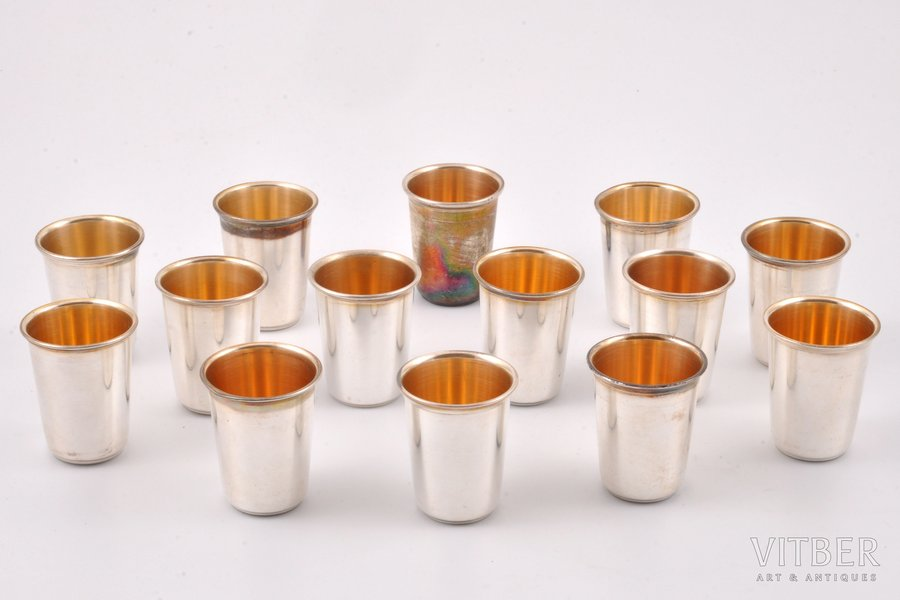 14 beakers, silver, 925 standart, the beginning of the 20th cent., 219.15 g, Germany, h 4 cm