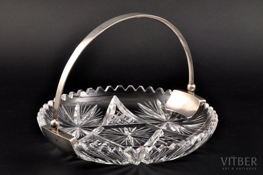 candy-bowl, silver, 875 standart, crystal, the 20-30ties of 20th cent., 698.45 g, (total weight of items)g, Latvia, Ø 18.3 cm
