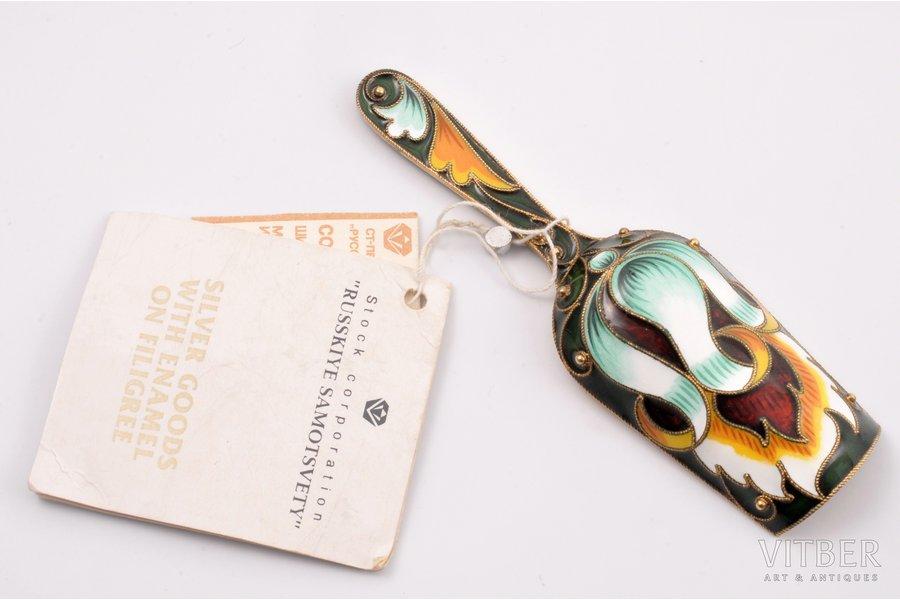 "tea caddy spoon, silver, 925 standart, cloisonne enamel, gilding, painted enamel, 1993, 26.41 g, ""Russkiye Samotsvety"", St. Petersburg, Russian Federation, 9.2 cm"