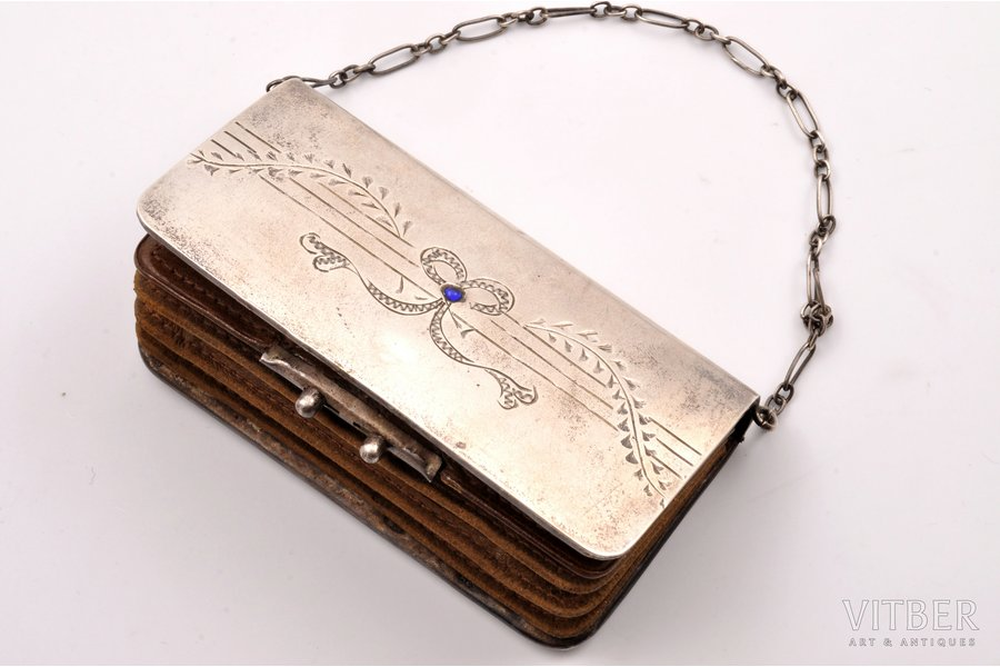 purse, silver, 84 standart, leather, engraving, 1908-1917, 80.60 g, (item total weight)g, Odessa, Russia, 9.5 x 4.9 x 1.6 cm