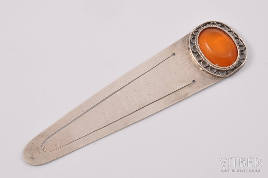 bookmark, silver, 875 standart, with a piece of amber, the 30ties of 20th cent., 7.55 g, Latvia, 9 x 2.4 cm
