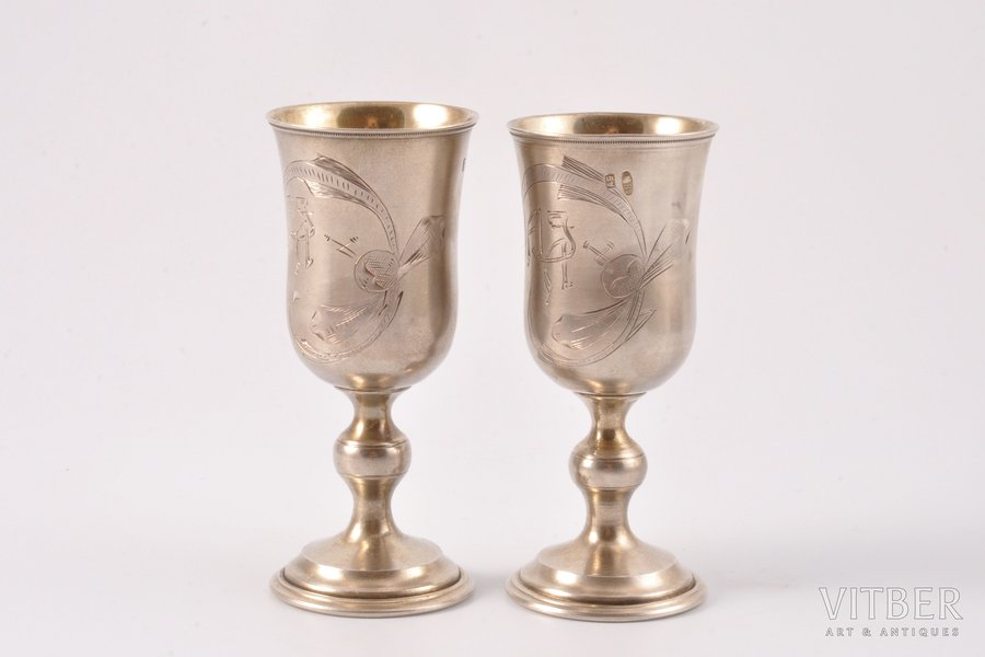 glāzīšu pāris, sudrabs, 84 prove, māksliniecisks gravējums, 1908-1917 g., 55.75 g, Kostroma, Krievijas impērija, h 8 cm