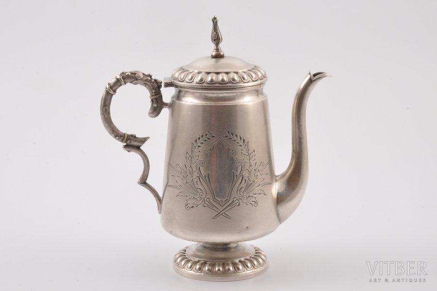 tējkanna (tējas uzlejumam), sudrabs, 84 prove, māksliniecisks gravējums, 1887 g., 222.15 g, Rīga, Latvija, Krievijas impērija, h (ar vāku) 15.4 cm