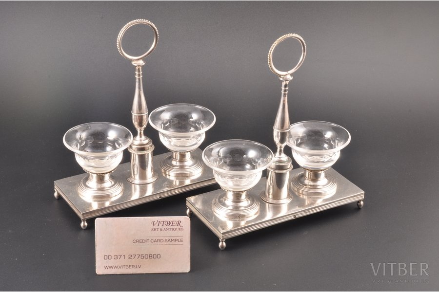 spicery dish (2 pcs), silver, 950 standart, the 19th cent., France, h 19 cm