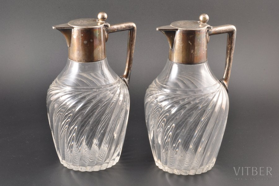 2 carafes, silver, 800 standart, the border of the 19th and the 20th centuries, Schwäbisch Gmünd, Germany, h 20.5 cm / 20.5 cm