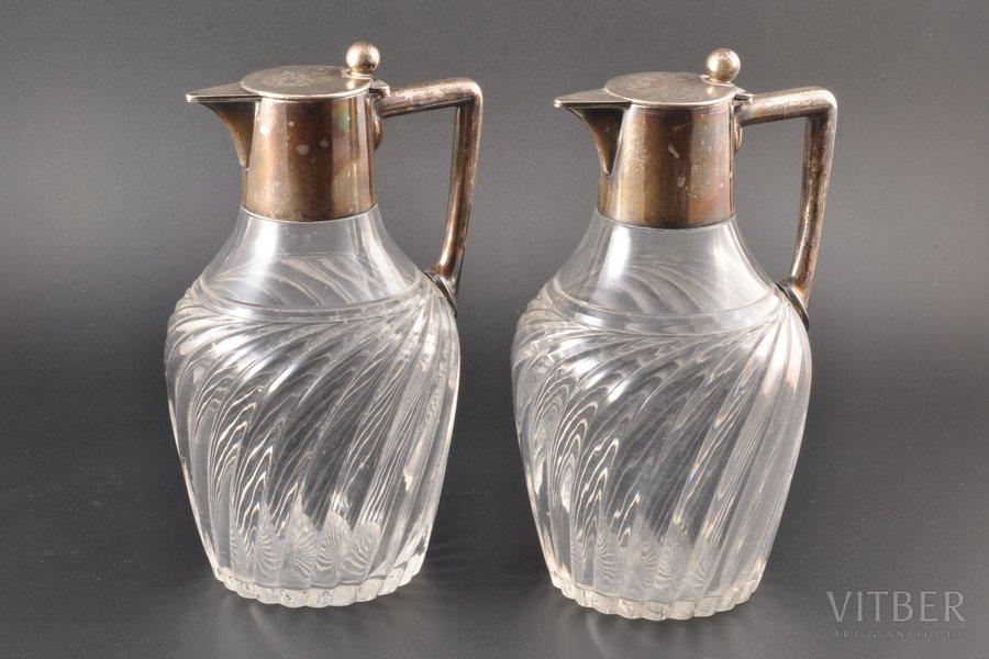 2 графина, серебро, 800 проба, рубеж 19-го и 20-го веков, Швебиш-Гмюнд, Германия, h 20.5 cm / 20.5 см