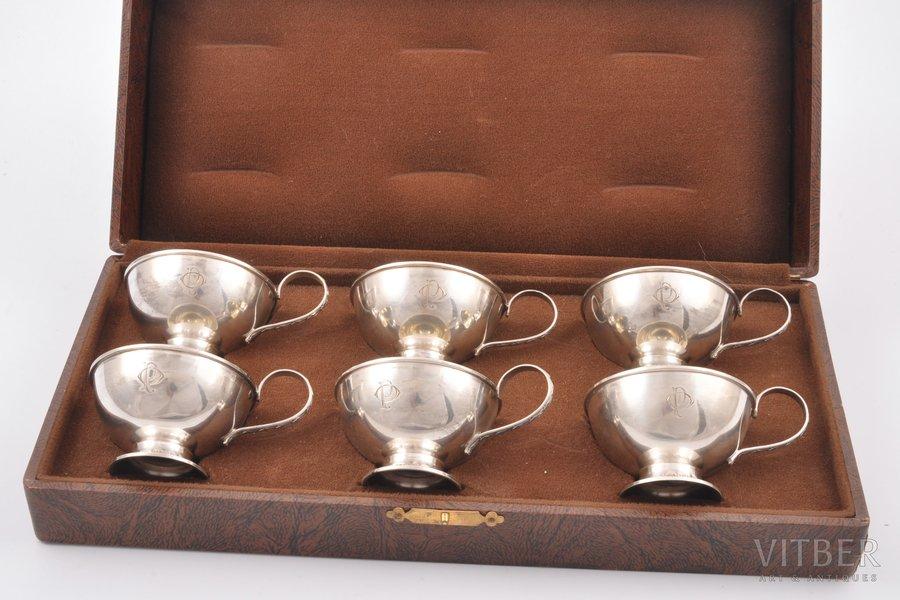 teacup set, silver, 830 standart, in a case, 1944, 209.15 g, Guldsmedsaktiebolaget, Stockholm, Sweden, Ø 6 cm