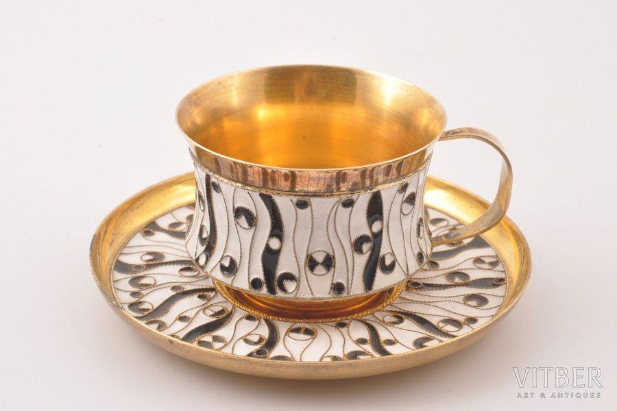 tējas pāris, sudrabs, 84 prove, starpsienu emalja, 1968 g., (kopējs) 142.50 g, Ļeņingradas juvelierizstrādājumu rūpnīca, Ļeņingrada, PSRS, Ø (apakštasīte) 9.2 cm, h (tasīte) 4 cm