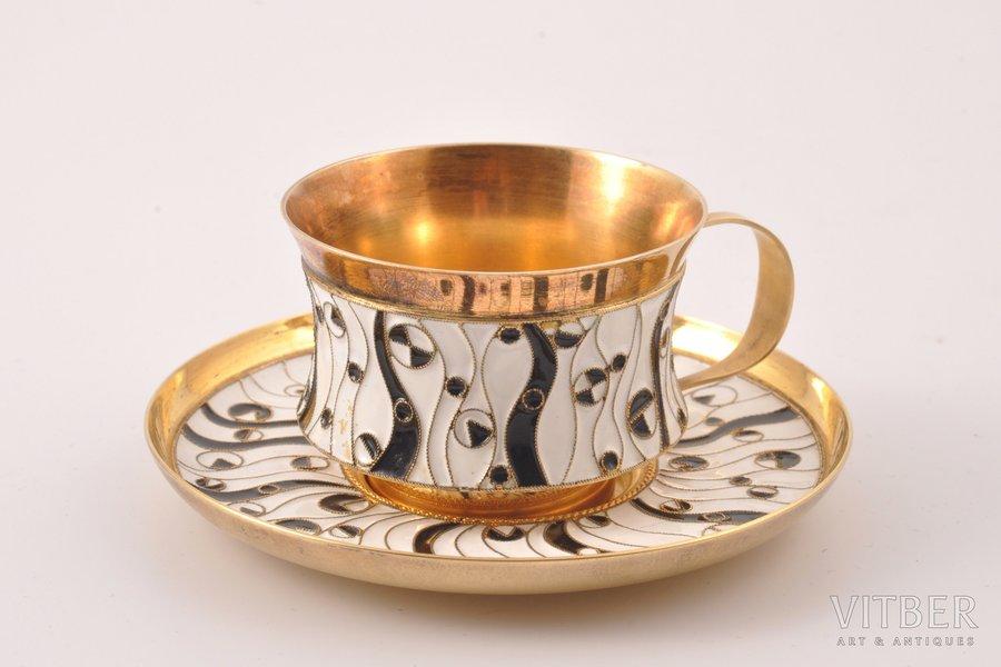 tea pair, silver, 916 standart, cloisonne enamel, 1968, (total) 140.85 g, Leningrad Jewelry Factory, Leningrad, USSR, Ø (saucer) 9.2 cm, h (cup) 3.9 cm