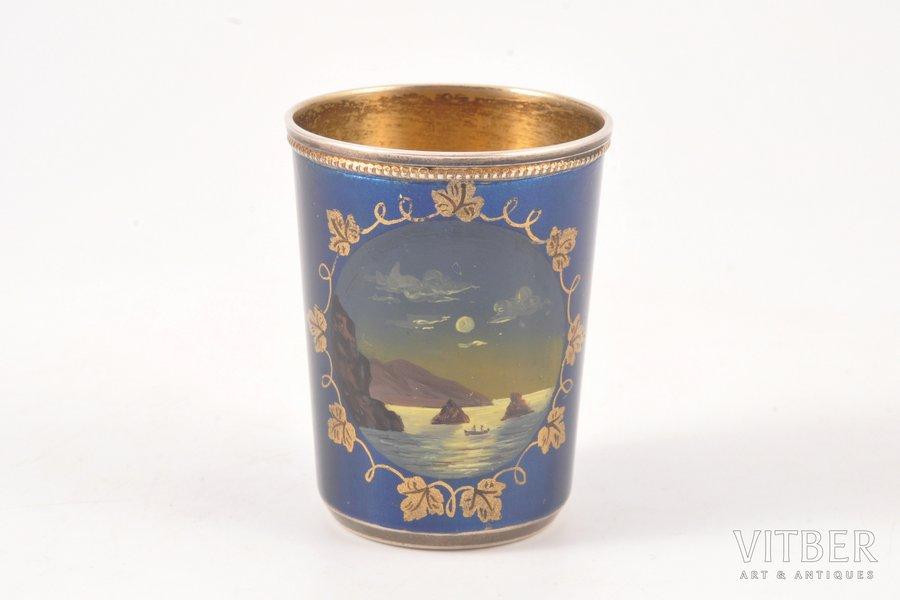 стопка, серебро, 875 проба, эмаль, 1953 г., 31.50 г, Таллинн, Эстония, СССР, h 4.8 см