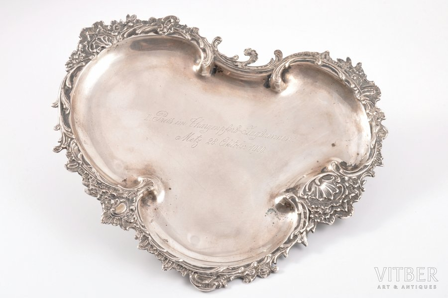 tray, silver, 800 standart, the prize, for 2nd place in Horseback hunt (28.10.1900., Metz), 1900, 357.30 g, Germany, 27 x 24 cm