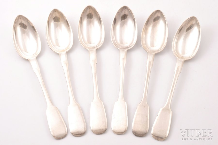 set of 6 soup spoons, silver, 84 standart, 1896, 506.30 g, by Nikolay Pavlov, Moscow, Russia, 22.2 cm