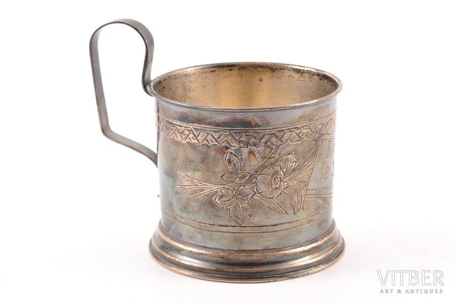 tea glass-holder, silver, 84 standart, engraving, 1895, 87.10 g, Egorov Alexander Sergeev's workshop, Moscow, Russia, Ø (inside) 6.7 cm, h (with handle) 8.6 cm
