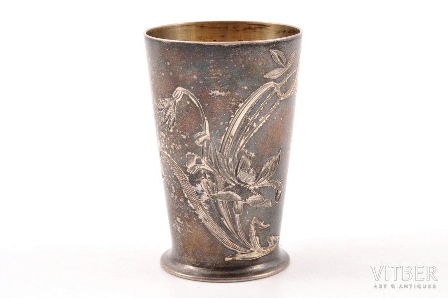 beaker, silver, 84 standart, art nouveau, engraving, niello enamel, 1896-1907, 40.70 g, by Pyotr Baskakov, Moscow, Russia, h 6.3 cm