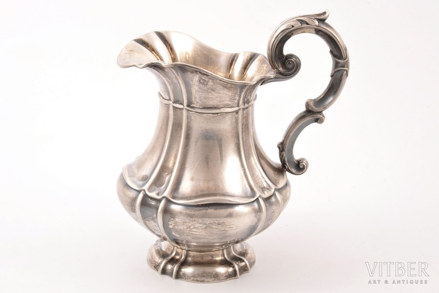 cream jug, silver, 800 standart, the border of the 19th and the 20th centuries, 213.80 g, Germany, h 15 cm