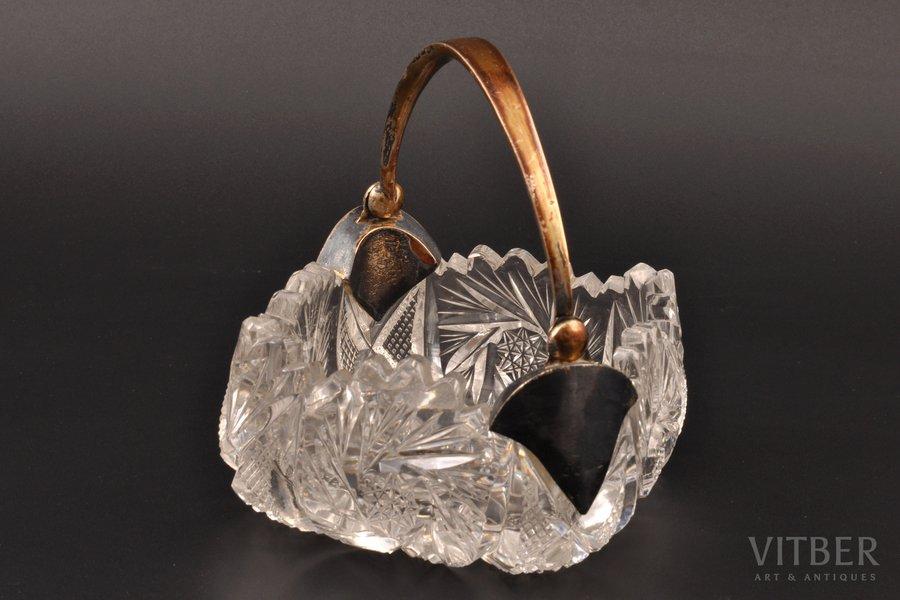 konfekšu trauks, sudrabs, 875 prove, kristāls, 20 gs. 20tie gadi, Latvija, 10 x 10 cm, h (ar rokturi) = 12 cm