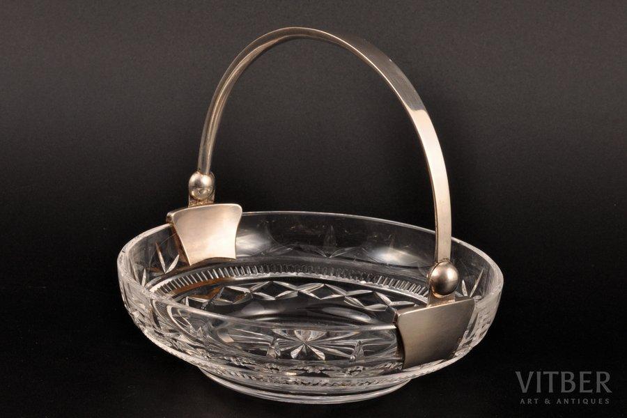 конфетница, серебро, 875 проба, хрусталь, 20-30е годы 20го века, Латвия, Ø 11.7 см