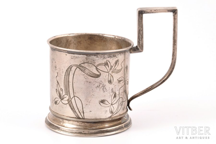 tea glass-holder, silver, 84 standart, art-nouveau, engraving, 1908-1917, 114.30 g, Ivan Butuzov's workshop, Moscow, Russia, h 10 cm, Ø (inside) 6.7 cm