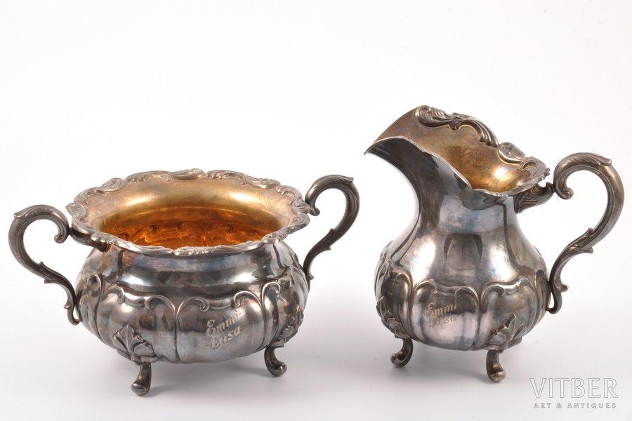 service: sugar-bowl, cream jug, silver, 813 standart, 1958, Turku, Finland, (cream jug) h 12.8 cm, 258.95 g,  (sugar-bowl) h 9.3 cm, 317.55 g