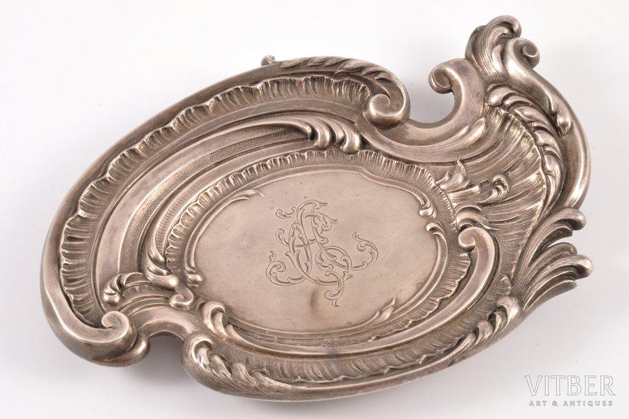 """блюдце, серебро, 84 проба, 1896 г., 87.45 г, фирма """"Фаберже"""", Москва, Российская империя, 12.9 x 9 см"""