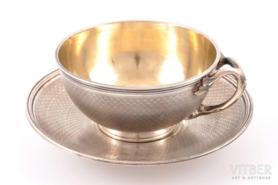 tējas pāris, sudrabs, 950 prove, 193.65 g, Francija, h (tasīte) 4.2 cm, Ø (apakštasīte) 12.4 cm