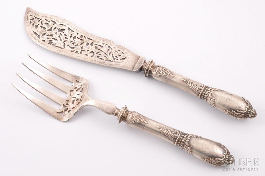 fish serving set, silver, 950 standart, the border of the 19th and the 20th centuries, 295.55 g, (total weight of items)g, by J. Granvigne, France, 30 / 25.4 cm