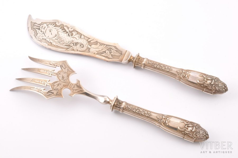 fish serving set, silver, 950 standart, 317.40 g, (total weight of items)g, France, 31 / 27.7 cm