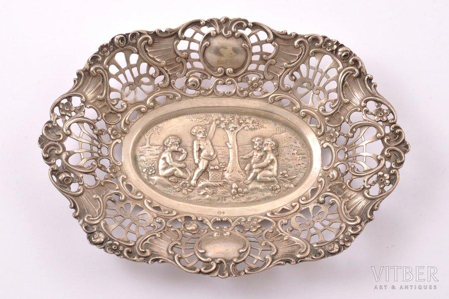 decorative dish, silver, 830 standart, 114.10 g, Germany, 18 x 13.4 cm, Swedish Import Hallmark