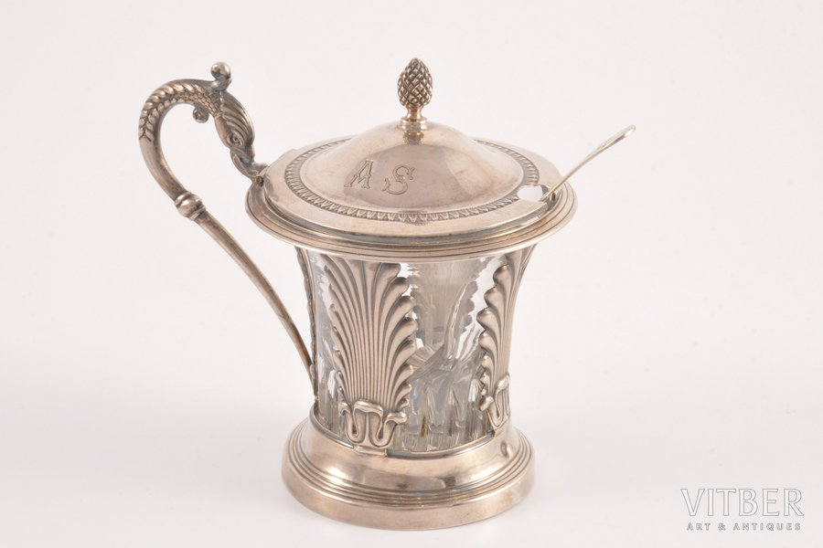 spicery dish, silver, 950 standart, the 19th cent., (total) 254 g, Paris, France, h 10 cm, (spoon) 9.9 cm