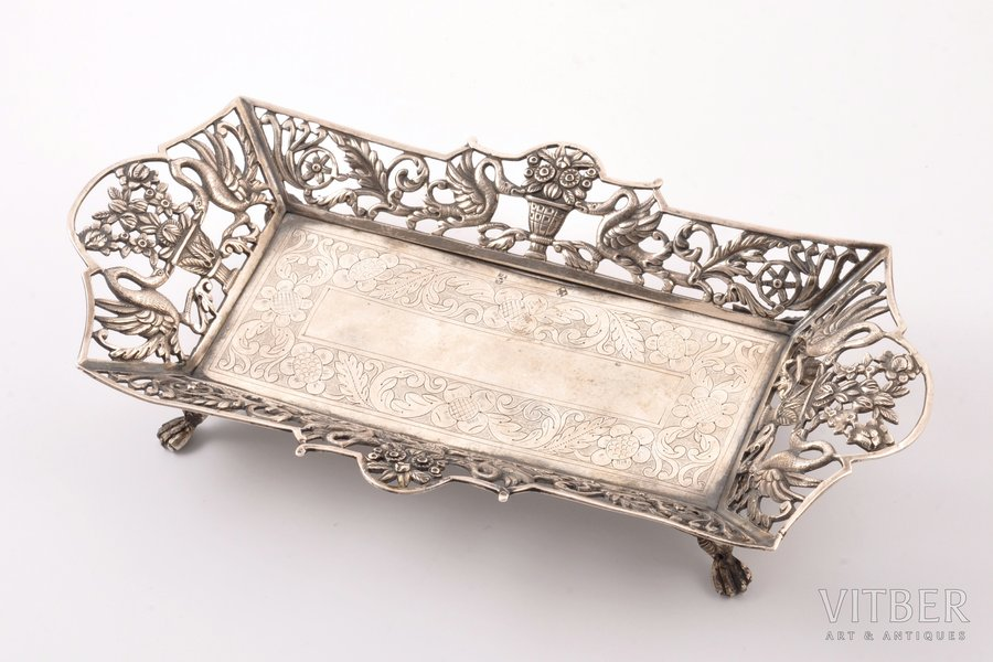 decorative dish, silver, 950(?) standart, the 18th cent., 267.70 g, France(?), 23.1 x 12.6 cm