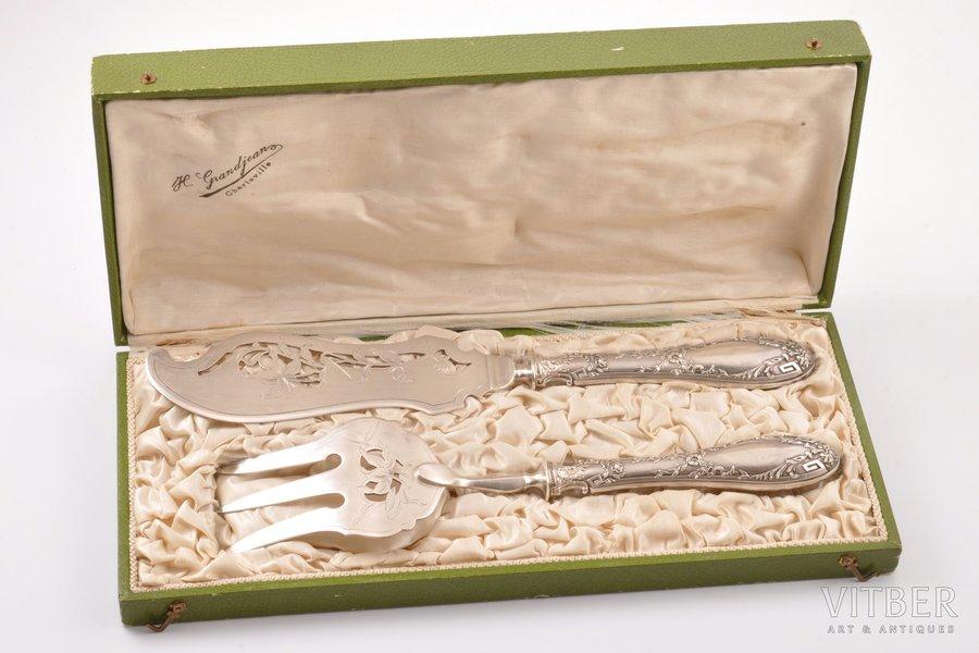 набор для сервировки рыбы, серебро, 950 проба, общий вес изделий 289.10г, Франция, 30.8 / 28.2 см, в коробочке