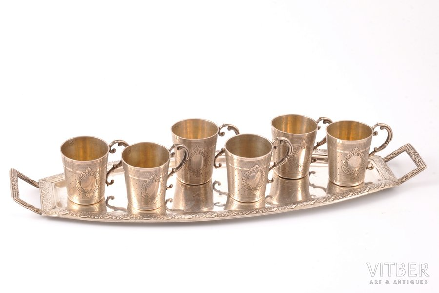 set of 6 beakers with tray, silver, 950 standart, metal tray, silver weight 157.75g, by Pellerin & Lemoing, France, tray 30.8 x 9.8 cm, h (beaker) 4.3 cm