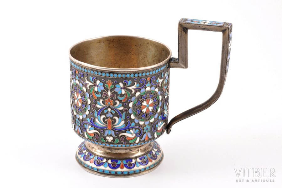 tea glass-holder, silver, 84 standart, cloisonne enamel, 1896-1907, 153.95 g, by D. P. Nikitin, Moscow, Russia, Ø (inside) 6.8 cm, h (with handle) 10.9 cm, dents at bottom (see photos)
