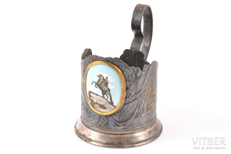 """tea glass-holder, """"monument to Peter the Great"""", Ленэмальер, silver plated, USSR, the 50ies of 20th cent., Ø 6.5 cm, h (with handle) 10.6"""