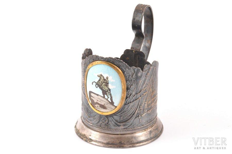 """glāzes turētājs, """"Piemineklis Pēterim I"""", Ленэмальер, apsudrabots, PSRS, 20 gs. 50tie gadi, Ø 6.5 cm, h (ar rokturi) 10.6"""