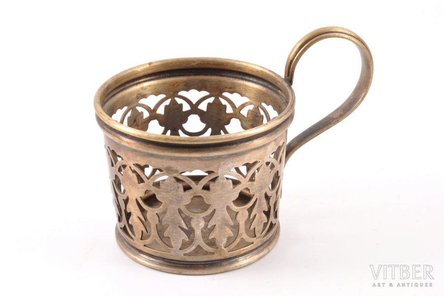 tea glass-holder, Gebr. Buch Warschau, silver plated, Russia, Congress Poland, the 2nd half of the 19th cent., Ø (inside) = 7.5 cm, h (with handle) = 8.6 cm