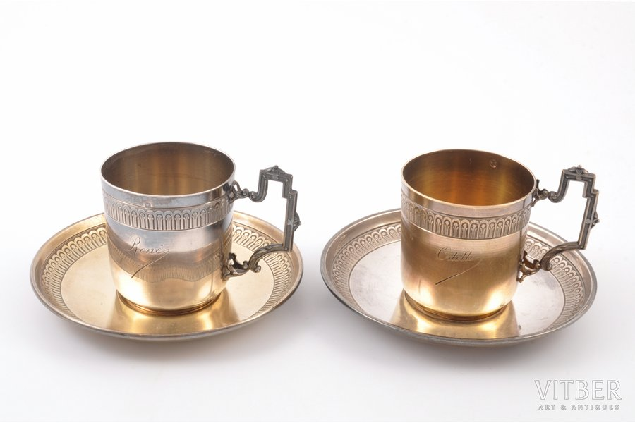 2 tea pairs, silver, 950 stand...